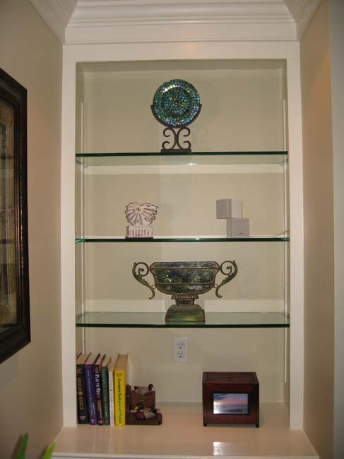 inset glass shelving